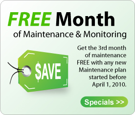 Free month of maintenance and monitoring, 3rd month is free