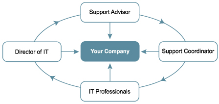 Your company, Support Advisor, Director of IT, Support Coordinator, IT Professionals