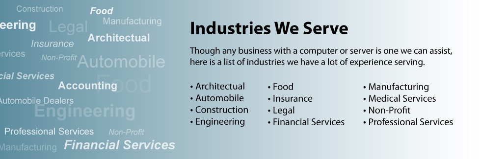 Industries We Serve. Though any business with a computer or server is one we can assist, here is a list of industries we have a lot of experience serving.  Architectual, Automobile, Construction, Engineering, Food, Insurance, Legal, Financial Services, Manufacturing, Medical Services, Non-Profit, Professional Services